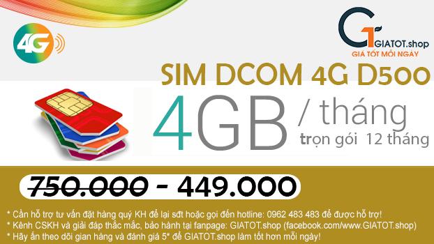 Sim Dcom 4G D500 Viettel Trọn Gói 12 Tháng (4Gb/Tháng) tốc độ cao